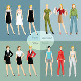 Collection of girl in different clothes. Woman in sport wear. Girl in little black dress. Women in glasses. Girl in formal suit. Blond woman in red blouse buy Royalty Free Stock Photography