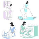 Collection. The girl removes dust in the room with a vacuum cleaner, erases, washes dishes, glass. A woman is a good wife and a stock illustration