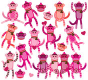 Collection of Girl Sock Monkey Vectors Stock Photo