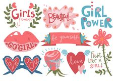 Collection of Girlish Pretty Design Elements with Inspirational Quotes Can Be Used For Greeting Cards, Badges, Labels. Invitations, Banners Vector Illustration stock illustration
