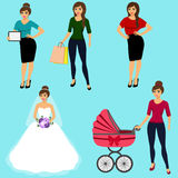 Collection of girls. Royalty Free Stock Photography