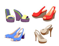 Collection of girls shoes. Royalty Free Stock Photography