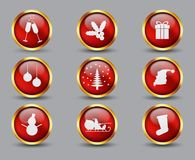 Collection of glass and gold Christmas buttons and icons vector illustration