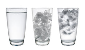 Collection of Glass with water and ice isolated on white, Clippi Stock Photo