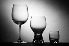 Collection of glasses. Collection of three glasses for several types of drinks Stock Photography