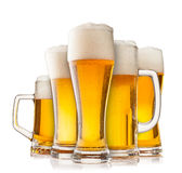 Collection of glasses of beer on white Stock Photography