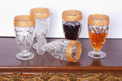 Collection of glasses with gold trim Stock Photo