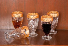 Collection of glasses with gold trim Royalty Free Stock Photography