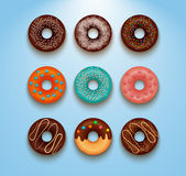 Collection of glazed colored donuts vector with icing sprinkles. Stock Image