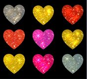 Set of glittering hearts isolated on black. VECTOR illustration. Collection of glittering hearts isolated on black. VECTOR illustration on black background royalty free illustration