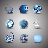 Collection Of Globe Designs. Collection Of Blue Globe Designs Stock Photos
