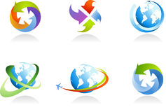 Collection of globe icons. And logo - for more logos of this type CLICK ON MY NAME BELOW TO SEE MY GALLERY Stock Photo