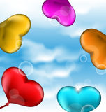 Collection glossy hearts balloons for Valentine Da. Illustration collection glossy hearts balloons for Valentine Day in the blue sky - vector Stock Images
