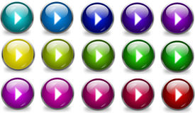 Collection of glossy play buttons Stock Photography