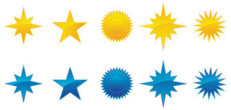 Collection of glossy stars. Royalty Free Stock Photo