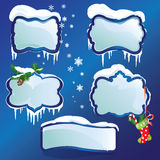 Collection of glossy winter frames with snowdrifts Royalty Free Stock Photos