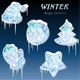 Collection of glossy winter icons with icicles Stock Images