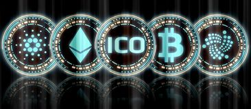 Collection of glowing blue gold multiple crypto currency coin set and ICO at middle with reflection on background. stock illustration
