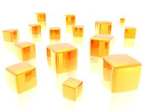 Collection of gold. 3d rendered in Bryce, isolated on white Royalty Free Stock Images