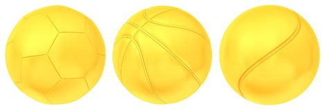 Collection of gold balls isolated on white background. 3d rendering Royalty Free Stock Photos