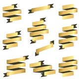 Collection gold banners Stock Photography