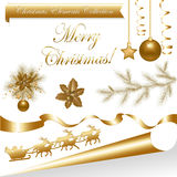 Collection Gold Christmas Elements. Vector Stock Photography