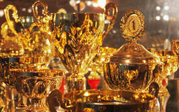 Collection of gold cups Stock Image