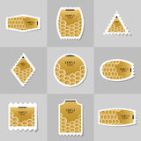 Collection of Gold Fish Or Snake Scales postage stamp. Cards, notes, stickers, labels, tags. Template for scrapbooking, wrapping, notebooks Stock Images