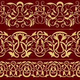 Collection of gold floral seamless border Royalty Free Stock Images