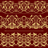 Collection of gold floral seamless border Stock Images