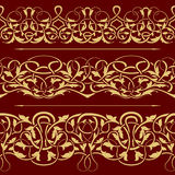 Collection of gold floral seamless border Royalty Free Stock Image