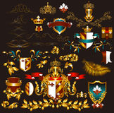 Collection of gold-framed heraldic elements Stock Photo