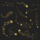 Collection of gold glittering space star Stock Photos