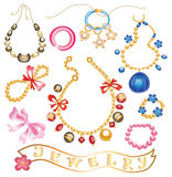 Collection of gold jewelery with precious stones. (vector illustration Stock Photography