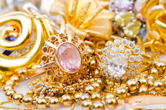 Collection of gold jewellery. Large collection of gold jewellery Stock Image