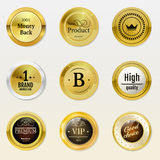 Collection gold labels for promo seals. Can be use. For website, online-shop, design certificate. Quality stickers round with stone and glossy. Vector retro Stock Photography