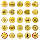 Collection gold labels for promo seals. Can be use for website,. Online-shop, design certificate. Quality stickers round. Vector retro objects on white Stock Photography