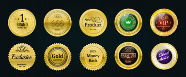 Collection gold labels for promo seals. Can be use for website, Stock Image