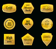 Collection gold labels for promo seals. Can be use for website,. Collection gold vip labels for promo seals. Can be use for website, online-shop, design Stock Image
