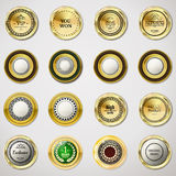 Collection gold labels for promo seals. Can be used for website,. Online-shop, design certificate. Quality stickers round with stone. Vector retro objects on Stock Image