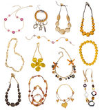 Collection of gold necklaces Royalty Free Stock Images