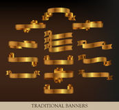 Collection of Gold Ribbons. Gold ribbons and banners - vector illustration Royalty Free Stock Image
