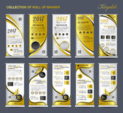 Collection Gold Roll Up Banner Design stand template, flyers. Design , advertisement, display layout, x-banner and flag-banner, pull up royalty free illustration