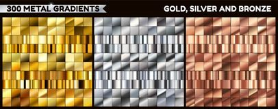 Big metal pack. Collection of gold, silver and bronze gradient for design. Vector gradients set. Stock Photo