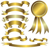 Collection of gold and silver ribbons Royalty Free Stock Images