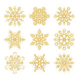 Collection of gold snowflakes icons Royalty Free Stock Photo