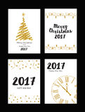 Collection of gold texture Christmas and New Year. Greeting card Royalty Free Stock Photo