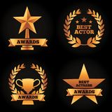 Collection gold trophies star cup laurel awards best actor actress. Vector illustration black background Royalty Free Stock Photography