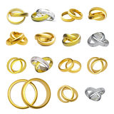 Collection of gold wedding rings Royalty Free Stock Photo