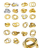Collection of gold wedding rings Royalty Free Stock Image